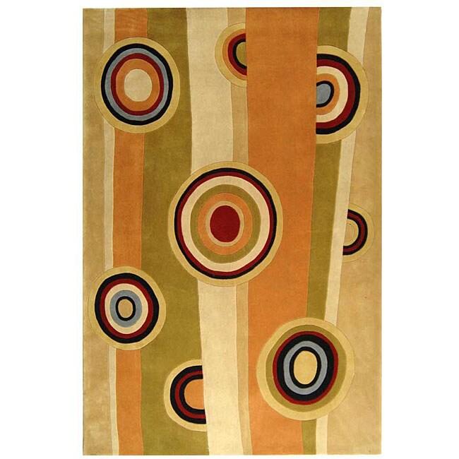 Safavieh Handmade Rodeo Drive Modern Abstract Sage/ Red Wool Rug - 7'6' x 9'6'