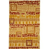 Safavieh Handmade Rodeo Drive Modern Abstract Beige/ Rust Wool Rug - 5' x 8'