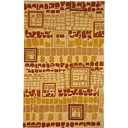 Safavieh Handmade Rodeo Drive Modern Abstract Beige/ Rust Wool Rug (6' x 9')