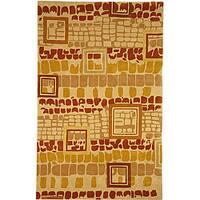 Safavieh Handmade Rodeo Drive Modern Abstract Beige/ Rust Wool Rug - 6' x 9'