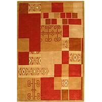 Safavieh Handmade Rodeo Drive Beige/ Red Wool Rug - 3'6 x 5'6