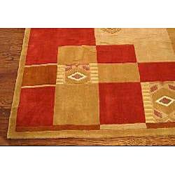 Safavieh Handmade Rodeo Drive Beige/ Red Wool Rug (6' x 9') - Thumbnail 1