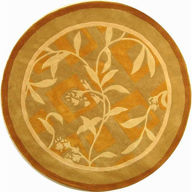 Safavieh Handmade Rodeo Drive Transitional Gold/ Ivory Wool Rug (5'9 Round)