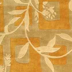 Safavieh Handmade Rodeo Drive Transitional Gold/ Ivory Wool Rug (8' x 11')