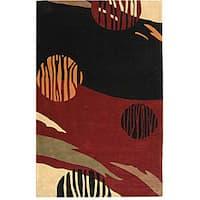 Safavieh Handmade Rodeo Drive Abstract Black/ Red Wool Rug - 5' x 8'