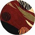 Safavieh Handmade Rodeo Drive Abstract Black/ Red Wool Rug (5'9 Round)