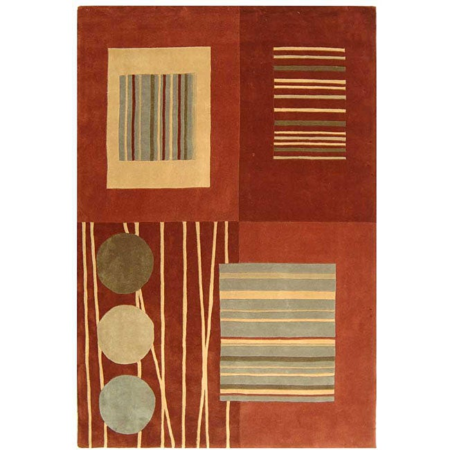Safavieh Handmade Rodeo Drive Modern Abstract Brown/ Multi Wool Rug - 7'6' x 9'6'