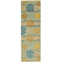 "Safavieh Handmade Rodeo Drive Contemporary Blue/ Multi Wool Runner (2'6 x 10') - 2'6"" x 10'"