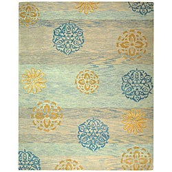 Safavieh Handmade Rodeo Drive Contemporary Blue/ Multi Wool Rug (7'6 x 9'6)