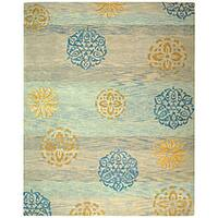 "Safavieh Handmade Rodeo Drive Contemporary Blue/ Multi Wool Rug - 7'6"" x 9'6"""