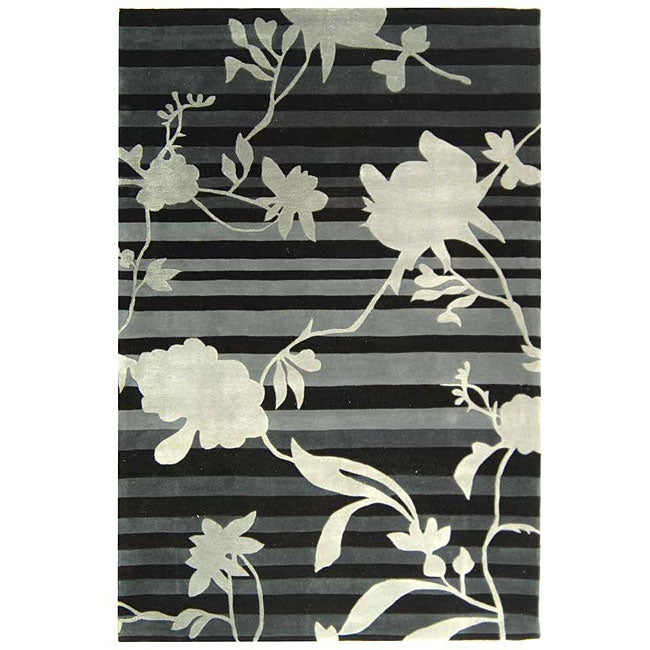 Safavieh Handmade Rodeo Drive Modern Black/ Grey Wool Rug (5' x 8')