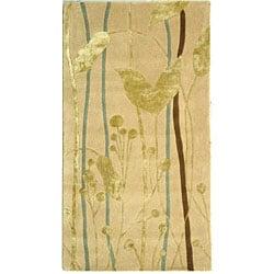 Safavieh Handmade Rodeo Drive Modern Abstract Ivory/ Gold Wool Rug (2'6 x 4'6)