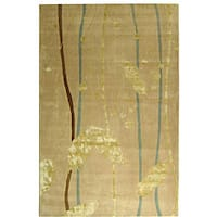 "Safavieh Handmade Rodeo Drive Modern Abstract Ivory/ Gold Wool Rug - 7'-6"" X 9'-6"""
