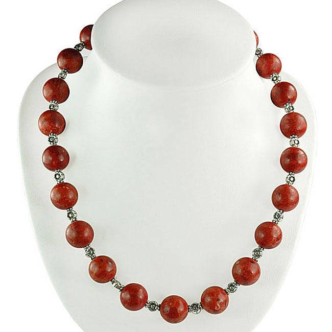 Silver Coral with Floral Beads Necklace (Thailand)