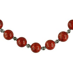 Silver Coral with Floral Beads Necklace (Thailand) - Thumbnail 2