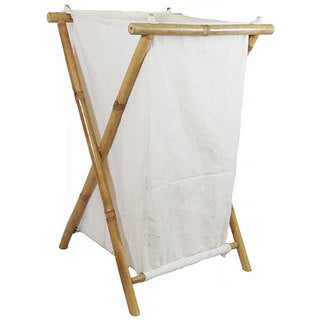 Bamboo and Canvas Hamper (Vietnam)