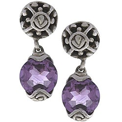 Silver Dangling Dewdrop Gemstone Post Earrings (India)