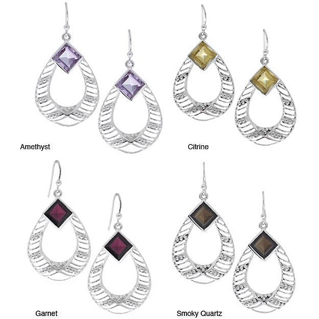Sterling Silver Solitaire Gemstone Earrings (India)