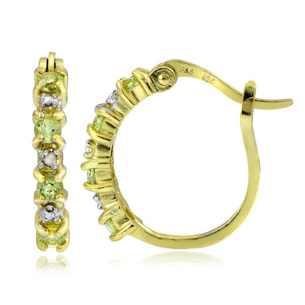 Glitzy Rocks 18k Gold/ Sterling Silver Peridot Hoop Earrings