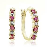 Glitzy Rocks 18k Gold Sterling Silver Ruby Hoop Earrings