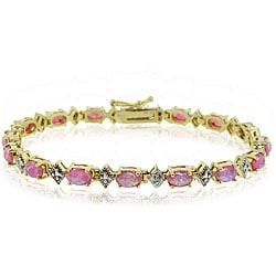 Glitzy Rocks 18k Gold over Silver 4 1/6 carat TGW Created Pink Opal Bracelet