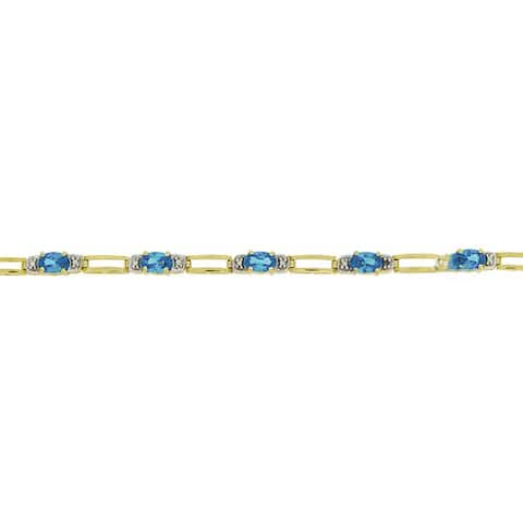 Icz Stonez 18k Gold/ Silver Blue Cubic Zirconia Bracelet