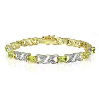 Glitzy Rocks 18k Gold over Silver Peridot Bracelet
