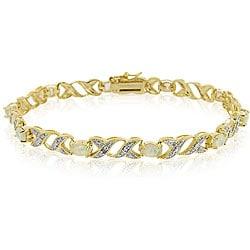 Glitzy Rocks 18k Gold over Silver 2 5/8 carat TGW Created Opal Bracelet