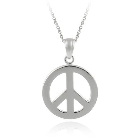 Mondevio Sterling Silver Peace Necklace