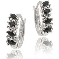 Glitzy Rocks Sterling Silver Sapphire Hoop Earrings