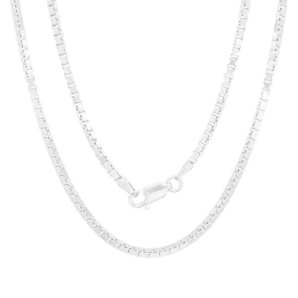 Sterling Silver 1mm Wide 8 Side Octagon Diamond Cut Box Chain Necklace With Spring Ring Clasp 16 Inch