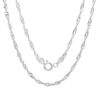 Sterling Essentials Sterling Silver 18-inch Singapore Chain (2mm)