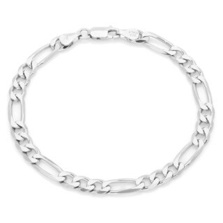 Sterling Silver 6 mm Diamond-cut Figaro Bracelet (7 Inch)