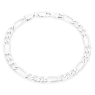 Sterling Essentials Silver 6 mm Diamond-cut Figaro Bracelet (8 Inch)