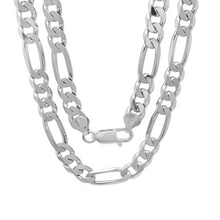 Sterling Silver Italian 8mm Diamond-Cut Figaro Chain (22-30 Inch) (3 options available)