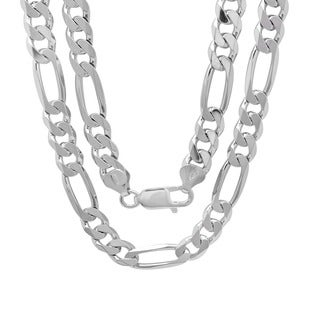 Sterling Silver Italian 8mm Diamond-Cut Figaro Chain (22-30 Inch)