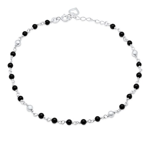 Roberto Martinez Sterling Silver Black Onyx Anklet (9+1 Inch)