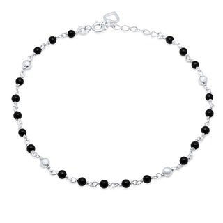 "Sterling Essentials Sterling Silver 9-inch plus 1"" extension Black Onyx Anklet"