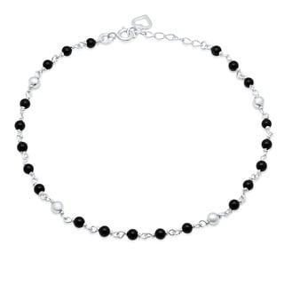 "Sterling Silver 9-inch plus 1"" extension Black Onyx Anklet"