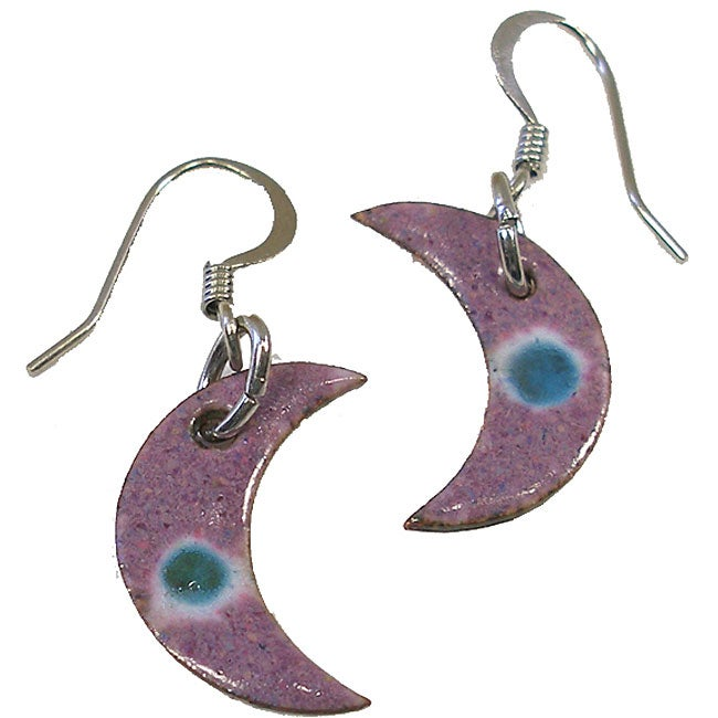 Enameled Copper Lavender Crescent Earrings (Chile)