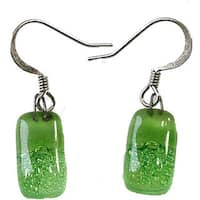 Handmade Glass Green Bubbles Earrings (Chile)