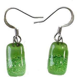 Handmade Glass Green Bubbles Earrings (Chile)