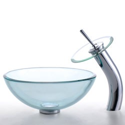 KRAUS Glass Vessel Sink with Single Hole Single-Handle Waterfall Faucet in Satin Nickel - Thumbnail 1