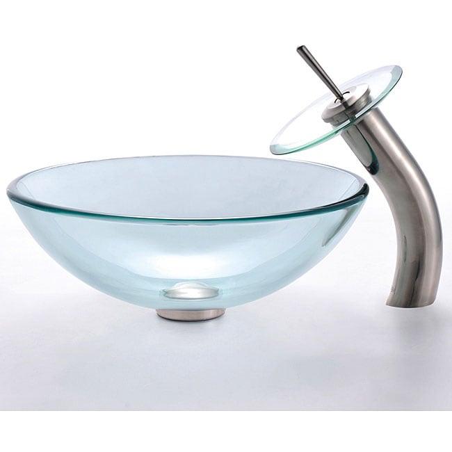 Kraus Clear Glass Vessel Sink/ Sat-in Nickel Waterfall Faucet