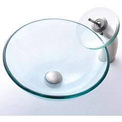Kraus Clear Glass Vessel Sink/ Sat-in Nickel Waterfall Faucet - Thumbnail 1