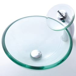 KRAUS 19 mm Thick Glass Vessel Sink with Single Hole Single-Handle Waterfall Faucet in Chrome