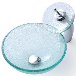 KRAUS Broken Glass Vessel Sink in Clear with Single Hole Single-Handle Waterfall Faucet in Chrome