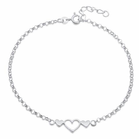 Roberto Martinez Sterling Silver 9-inch Triple Hearts Anklet