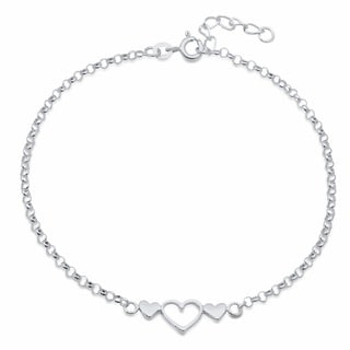 Sterling Silver 9-inch Triple Hearts Anklet