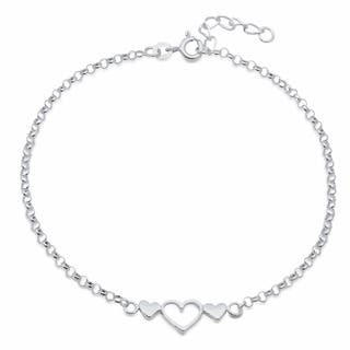 Sterling Silver 9-inch Triple Hearts Anklet|https://ak1.ostkcdn.com/images/products/3997221/P12025390.jpg?impolicy=medium